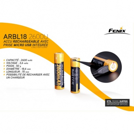 ACCU RECHARGEABLE USB FENIX 2600 MAH 3.6V
